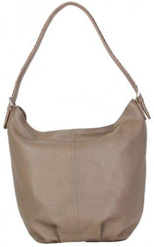 Hadaki Bombay Leather Collection Slouchy Hobo Shoulder Bag,Taupe,One Size by HADAKI