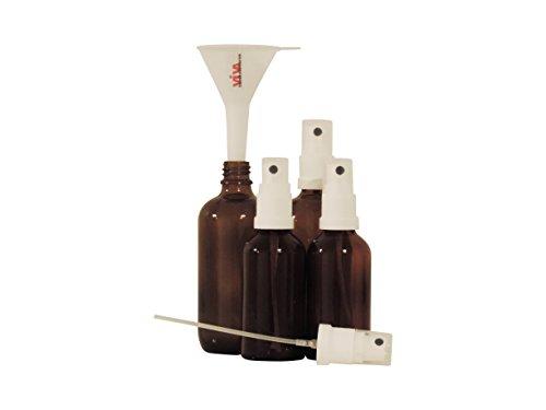 Viva-Haushaltswaren - 4er Set Sprühflaschen 2x50ml und 2x100ml / Zerstäuberflaschen in Braunglas inkl. Trichter