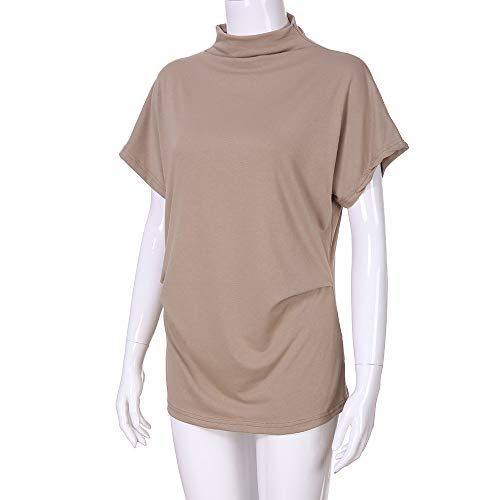 TWGONE Cap Sleeve Tops For Women Plus Size Turtleneck Solid Casual Blouse Top T Shirt (XXX-Large,Khaki) by TWGONE (Image #3)