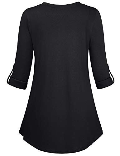 Kimmery-Woman-Henley-Shirt-34-Cuffed-Sleeve-Notch-V-Neck-Casual-Office-Tunic-Blouse