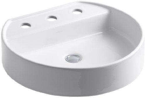 Kohler Lavatory 16 Vessel - Kohler 2331-8-0 Ceramic Above counter Round Bathroom Sink, 23.5 x 22.5 x 16 inches, White