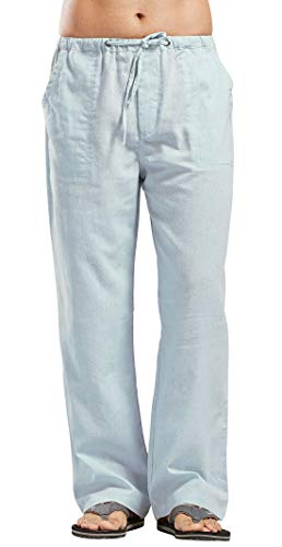 (utcoco Qiuse Men's Casual Loose Fit Straight-Legs Stretchy Waist Beach Pants (XX-Large, Light Blue))