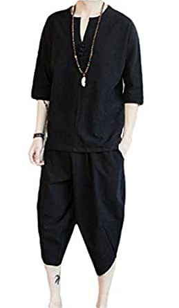 Men's 2 Piece Loose Cotton Linen Sleeveless Shirt and Pants Set Black 2XL
