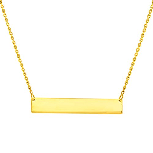 Solid 14k Yellow Gold Engravable Personalized Bar Pendant Necklace
