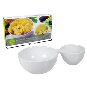 Luciano, Gourmet 2 section Rounded Serving Dish, 8.5 inches, (Section Dip Bowl)