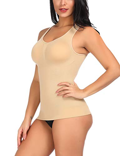 CINDYLOVER Women's Shapewear Long-Length Tank Smooth Cami Underwear Tank Top with Cup Bra Nude ()
