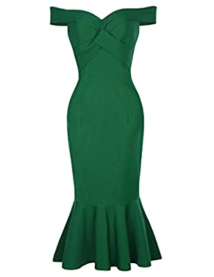 Belle Poque Women's Off Shoulder Mermaid Pencil Dress Hips-Wrapped BP336