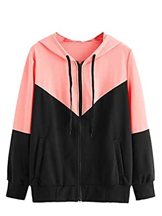 Milumia Women Colorblock Thin Cotton Jacket with Pockets Casual Zip up Hoodies Multicoloured S