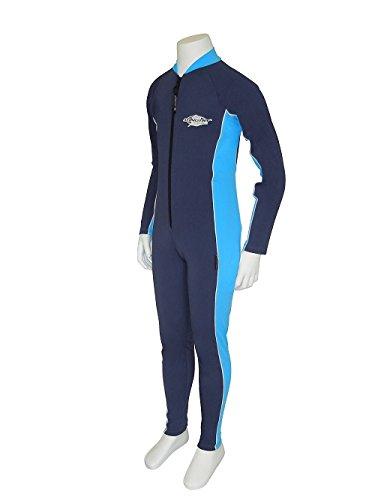 Stingray UV Sun Protection Full Body Coverage UPF SPF Swimsuit for Boys & Girls- 1-piece suit - Long sleeve, Long leg Swimwear -Navy/Azure, Size 10.