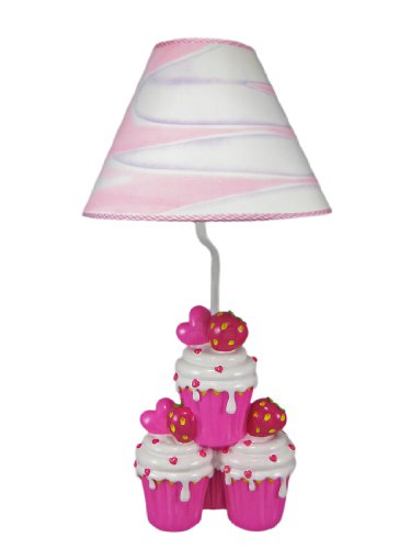 Pink Strawberry Cupcake (Resin Childrens Lamps Scratch & Dent Adorable Hot Pink Strawberry Cupcake Table Lamp 10 X 19 X 10 Inches Pink)