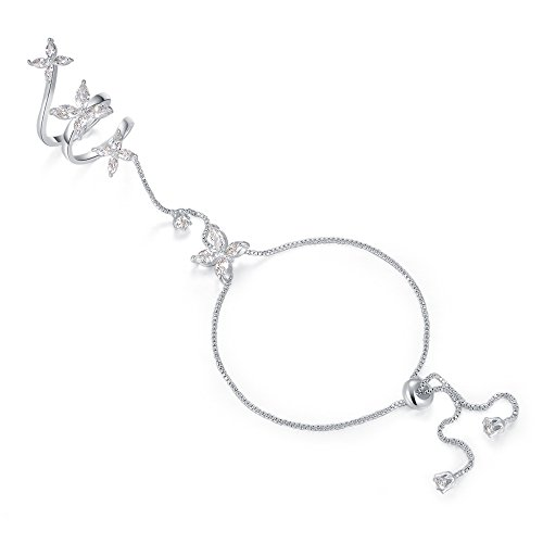 dnswez Expandable Butterfly Ring Bracelet Cubic Zirconia Hand Chain Bracelet with Ring Slave Chain Hand Harness for Women Size - Bracelet Butterfly Ring