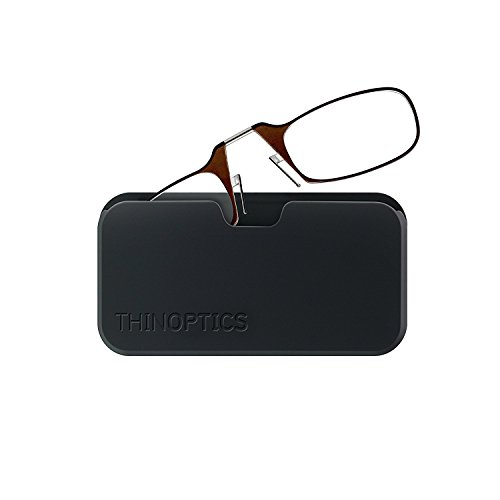 ThinOptics Reading Glasses + Black Universal Pod Case | Brown Frame, 2.00 Strength Readers