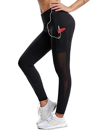 ALONG FIT Women Yoga Leggings Flex Mesh Yoga Pants with Pockets Gym Yoga Tights Running Pants