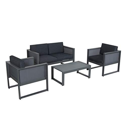 Garden 4 Seater (Great Deal Furniture Felix Island Outdoor 4 Seater Grey Mesh Chat Set with Rust-Proof Aluminum Frame and Dark Grey Water Resistant Cushions)