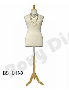 (JF-F14/16W+BS-01NX) Size 14-16 White Female Dress Form Mannequin Plus Size 42'' 32'' 44'' with Wooden Base & Cap (BS-01, White) by Roxy Display