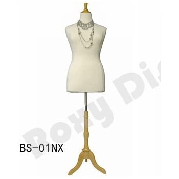 JF-F18//20W+BS-R01NX Solid Foam. ROXYDISPLAY/™ Display Female Body Form Jersey Form with Round Natural Wood Base