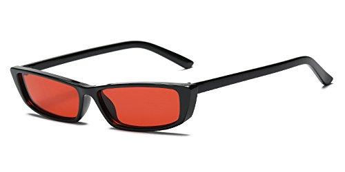 Retro Mujer Rectangular amp; Sol Gafas Unisexo Fiesta Negro Gafas Clásico de Moda Pequeña Rojo Hombre BOZEVON xEqpw0RTq