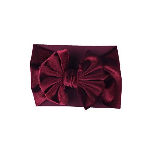 Gold Big Bowknot Elastic Turban Wide Head Girls Kids Hair Bows Wrap Aessories Headdress Headwrap,Wine Red ()