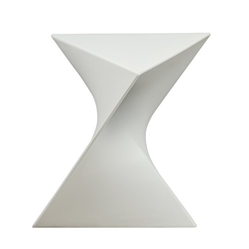 LeisureMod Randolph Modern Accent Side Table Indoor and Outdoor Use (White)