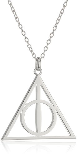 Harry Potter Silver Plated Deathly Hollows Symbol Pendant Necklace (Harry Potter Elder Wand Cloak And Stone)