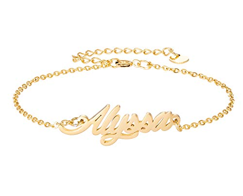 (HUAN XUN Personalized Name Bracelet Stainless Steel Jewelry Gifts for Womens Girls)
