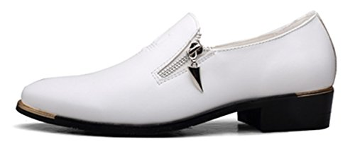 Santimon Dress Shoes Mens Casual Zipper Stylist Slip On Formale Festa Di Nozze Oxford Da Nero Marrone Bianco Rosso Bianco