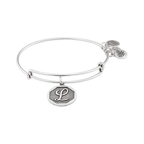 Alex and Ani Rafaelian Silver-Tone Initial L Expandable Wire Bangle Bracelet, 2.5""