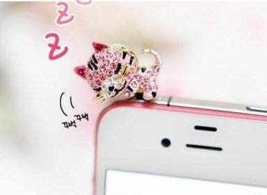 Dust Plug-earphone Jack Accessories Pink Crystal Cat with Flexible Head/ Cell Charms / Dust Plug / Ear Jack for Iphone 4 4s / Ipad / Ipod Touch / Other 3.5mm (Kitty Cell)