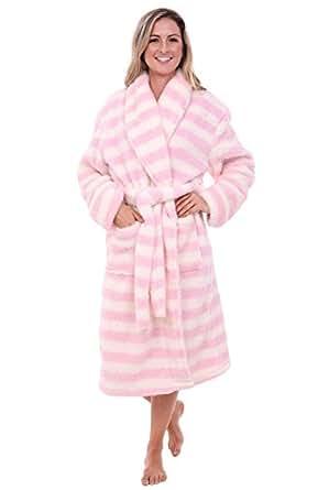 Del Rossa Women's Fleece Robe, Plush Microfiber Bathrobe, Small Medium Cream and Pink Striped (A0302P10MD)