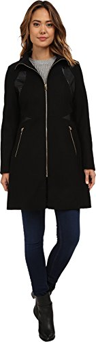 UPC 763656220801, Via Spiga Women's Zip Front Wool Coat w/ PU Detailing Black Outerwear 2