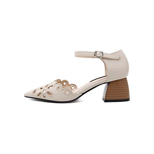 Inconnu Chaussure Bloc Pointu Cheville Boucle Fleur Sandales Bride Escarpin Sandale Ouvert Beige Femme Talon rHwqtxrZ