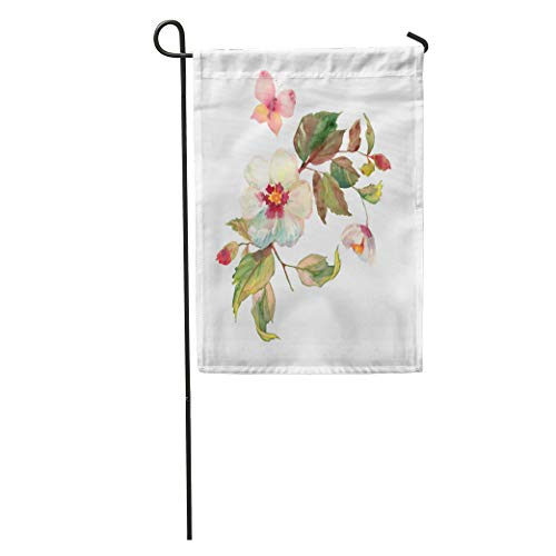 (Semtomn Garden Flag Beautiful Bouquet of White Roses Hips Flowers Butterfly Floral Garland Home Yard House Decor Barnner Outdoor Stand 12x18 Inches Flag)