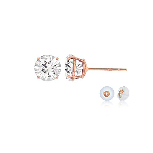 Genuine 14K Solid Rose Gold 4mm Round Clear White Sapphire Birthstone Stud Earrings