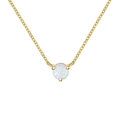 QUINBY Created Opal Pendant Necklace for Women 14K Gold Plated Dainty Minimalist Necklace Jewelry for Girls 5mm