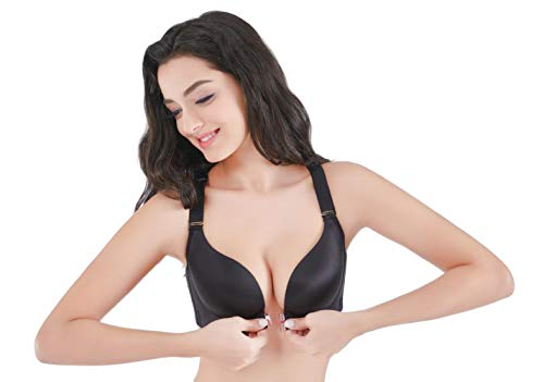 SWEETTIANTIAN Women's Black Sexy Plus Size Front Closure Thin Cup Bralettes Wirefree Push up Bra for 42C ()