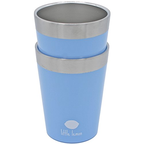 8 oz Double Wall Tumbler - Stainless Steel Kids and Toddler Cups - Toxic-Free, Unbreakable, 18/8 Steel, Dishwasher Safe, 2-pack (Sky Blue)