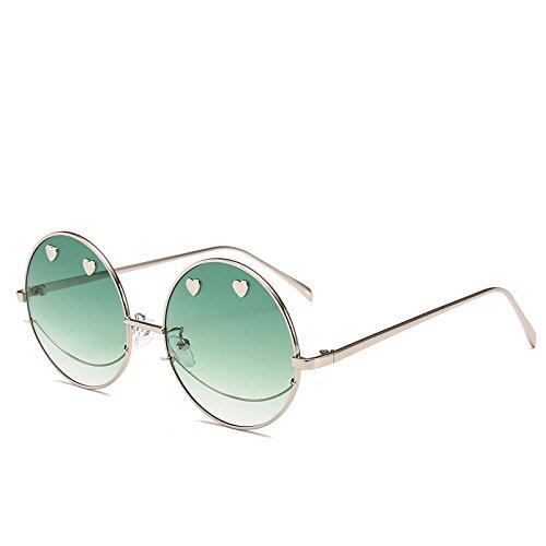 Protección De A Hombre Moneda Forma Viento Gafas Metal Corazón Visera Ojos Prueba para UV Protección Espejo Sol Creativo Plano Cara xuexue 03 Los Creativo De Personalidad Sra Moda 01 De Sonriente RSUSx7
