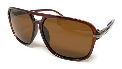 WebDeals Retro - Flat Top Polarized Sunglasses Celebrity Style 70's Fashion (Bronze, Brown ()
