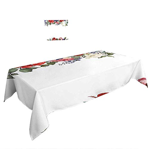 Dot Dress Pintuck (Warm Family Rectangle Tablecloth W50 x L80 INCH,Bridal Shower Decorations Wedding Day Bride with White Dress and Flowers Image ES Dark Coral and White. Suitable for All Occasions)