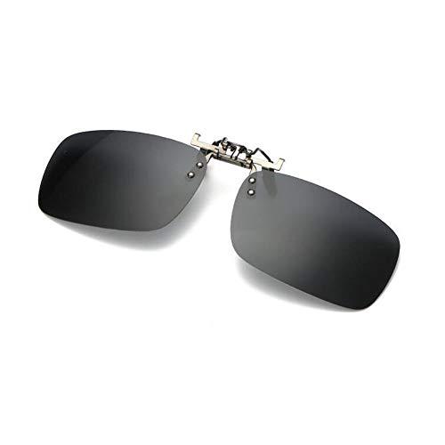 lunettes Élégant up éblouissement Deylaying Clip UV400 Protection Lentille Mixte Noir lunettes soleil Anti de on Rectangle Des Polarisation Flip vTqv8H