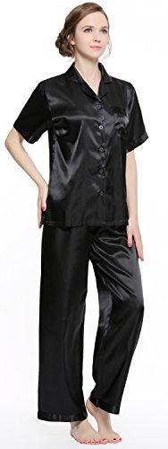 Sunrise Women's Short Sleeve Classtic Satin Pajama Set (Medium, Solid - Black Pajamas Silk