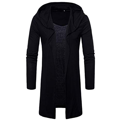Muranba Clearance Mens Hooded Trench Coat Jacket Cardigan Outwear