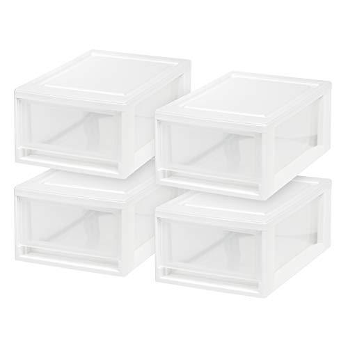 IRIS USA, Inc. MSD-1 Compact Stacking Drawer, White, 6 Quart, 4-Pack