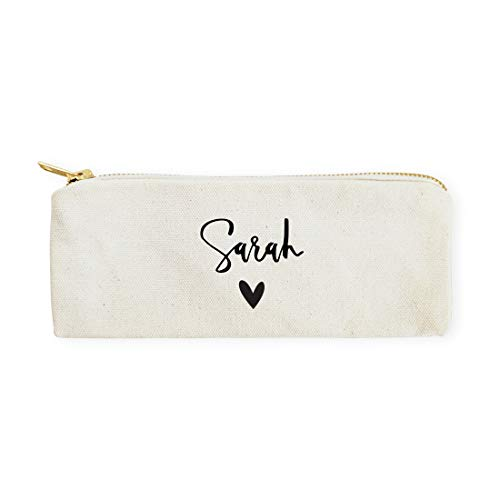 The Cotton & Canvas Co. Personalized Name Heart Pencil Case, Cosmetic Case and Travel Pouch for Office and Back to -