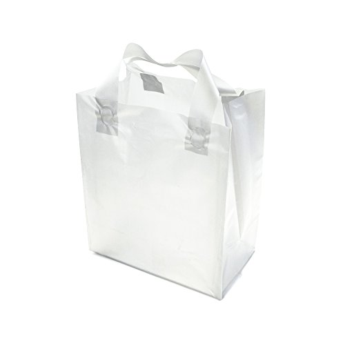 """PackStash (25 Qty) 8"""" x 10"""" + 5"""" Semi-Transparent Frosted (Small) Rigid Plastic Soft Loop Handle Gift/Retail Shopping Bags - Cardboard Base"""