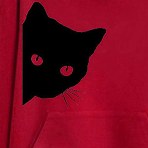Longues Sweat Sweat Piebo Women Capuche Pullovers Hooded Chat Pull Mignon Blouse Tops Imprimes Automne Rouge Manches Hoodie Shirt Solid Loisirs Loose capuche Fille Animaux Poche Chemises Encapuchonn Chaud rgtxqtd