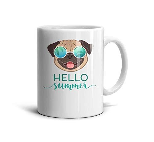 Pug Dog Wearing Mirror Sunglasses with Palm Trees Ceramic Mug Personality Coffee Mug Coffee Mugs 11 Oz TeaMugs ()