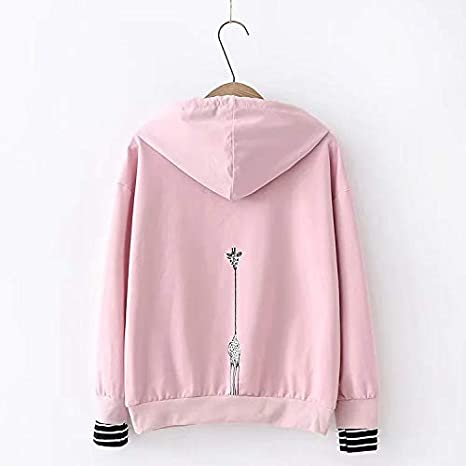TEEN fashion Women Pink Hooded Letter Embroidery Long Sleeve Striped Patchwork Sweatshirts