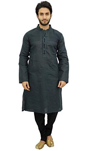 Linen Kurta - Atasi Men's Party Wear Linen Kurta Pyjama Set Gray Ethnic Shirt-XX-Large