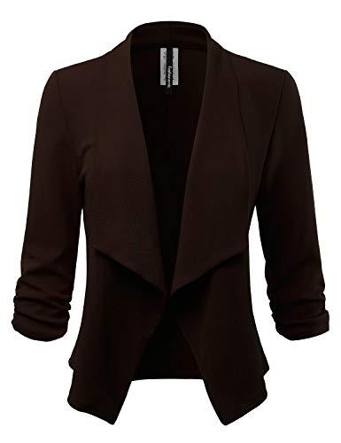 (FASHIONOLIC Women's Stretch 3/4 Gathered Sleeve Open Blazer Jacket (Made in USA) (CLBC001) Brown)